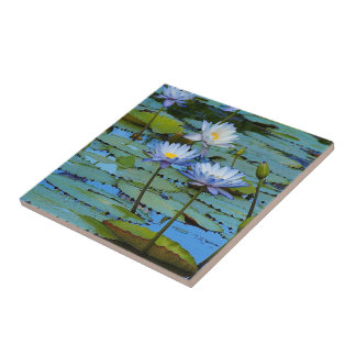 Create your own square tile - water lilies