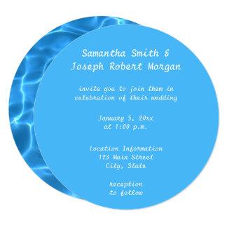 Create Your Own Swimming Pool Circle Photo Wedding Card
