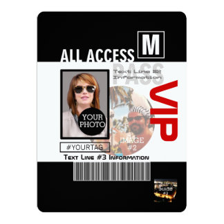 Create Your Own VIP Pass 8 ways to Personalize! 17 Cm X 22 Cm Invitation Card