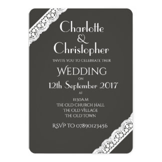 Create your own Wedding Invitation White Lace Trim