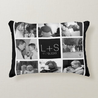 Create Your Own Wedding Photo Collage Monogram Accent Cushion