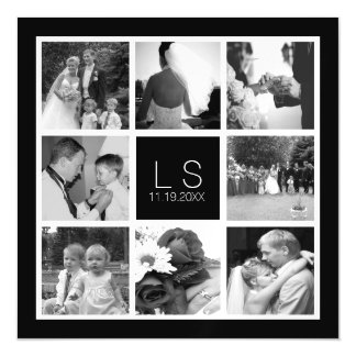 Create Your Own Wedding Photo Collage Monogram Magnetic Invitations