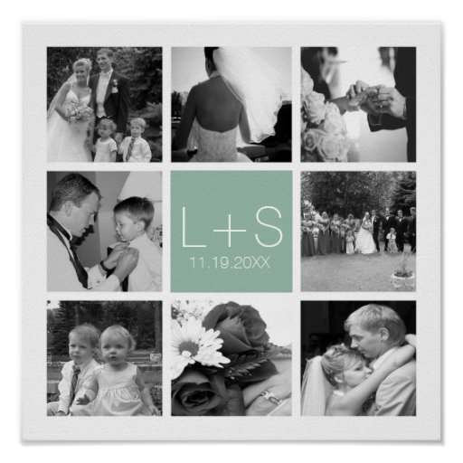Create Your Own Wedding Photo Collage Monogram Posters