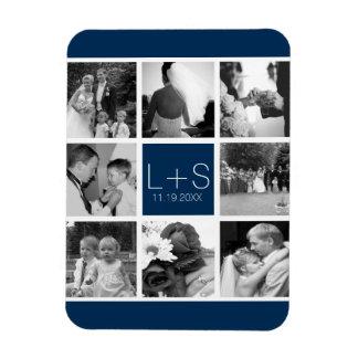 Create Your Own Wedding Photo Collage Monogram Rectangular Photo Magnet