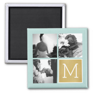 Create Your Own Wedding Photo Collage Monogram Square Magnet
