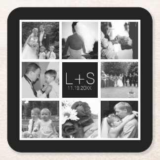 Create Your Own Wedding Photo Collage Monogram Square Paper Coaster