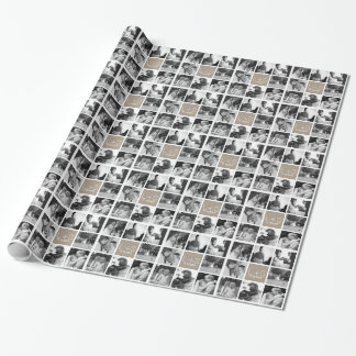 Create Your Own Wedding Photo Collage Monogram Wrapping Paper