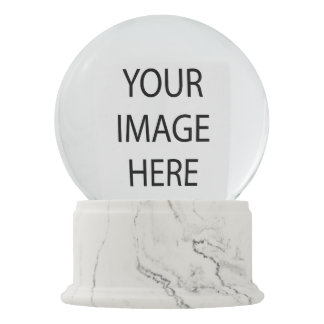 Create Your Own White Marble Rectangle Snowglobe