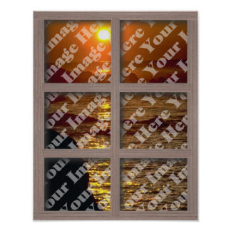 Create Your Own Window With Bleached Brown Frame Poster