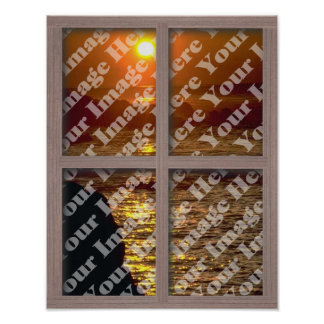 Create Your Own Window With Bleached Wood Frame Poster