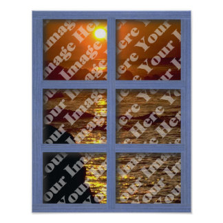 Create Your Own Window With Blue 6 Panel Frame Poster