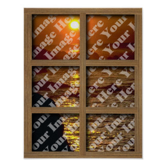 Create Your Own Window With Brown 6 panel Frame Poster
