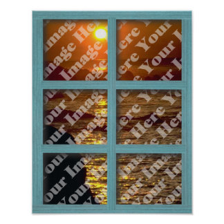 Create Your Own Window With Green 6 panel Frame Poster