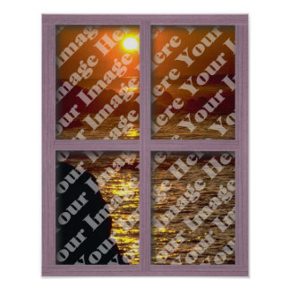 Create Your Own Window With Pink 4 panel Frame Poster