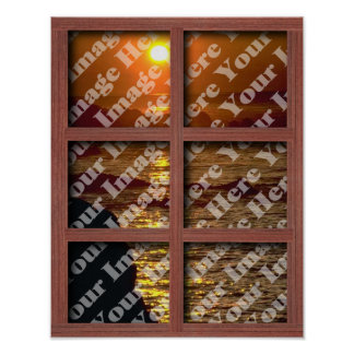 Create Your Own Window With Red 6 Panel Frame Poster