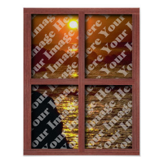Create Your Own Window With Red Wooden Frame Poster