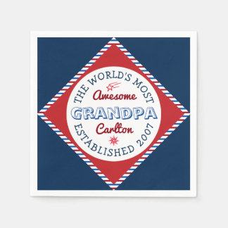 Create Your Own World's Most Awesome Grandpa Logo Paper Napkins