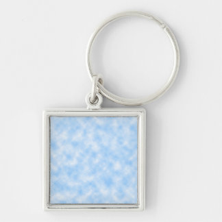 Created Blue and White Clouds Design Key Ring