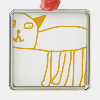Created by Kids, Happy Pussy Cat by 6 Year Old Boy Christmas Tree Ornaments