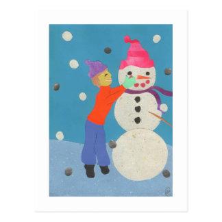 Creating a snowman postcard