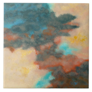 Creation, Abstract Art Painting Pastels Peach Teal Ceramic Tile