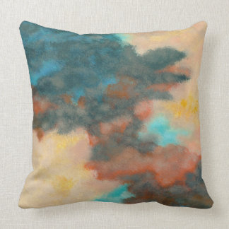 Creation, Abstract Art Painting Pastels Peach Teal Cushion