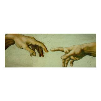 Creation of Adam (detail-hands) Poster