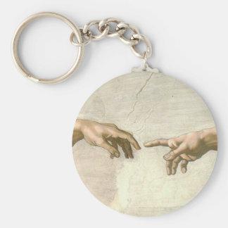 Creation of Adam Hands - Michelangelo Basic Round Button Key Ring