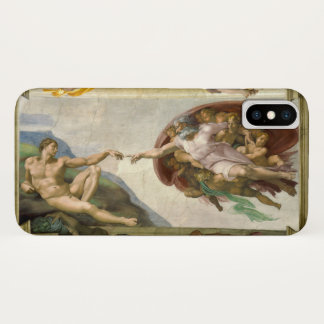 Creation of Man by Michelangelo, Vintage Fine Art iPhone X Case