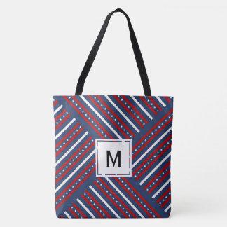 Creative Flag Design Monogram Tote Bag