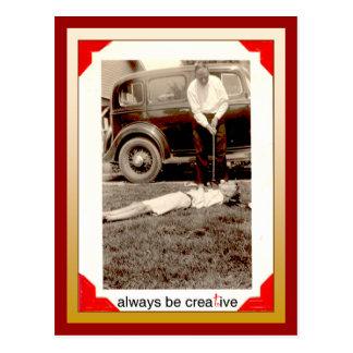 Creative golfer postcard