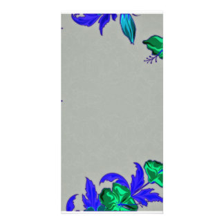 Creative green blossom with bluish leaves photo card
