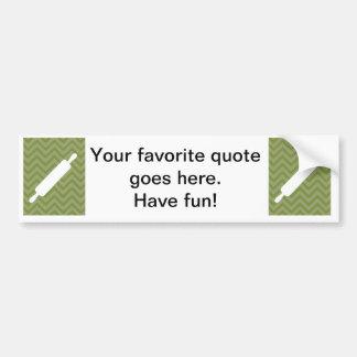 Creative-Kitchens - Rolling pin on chevron Car Bumper Sticker