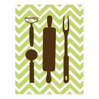 Creative Kitchens - Rolling pin on chevron. Postcard