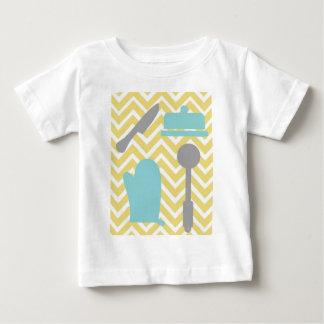 Creative Kitchens - Utensils on chevron. Baby T-Shirt