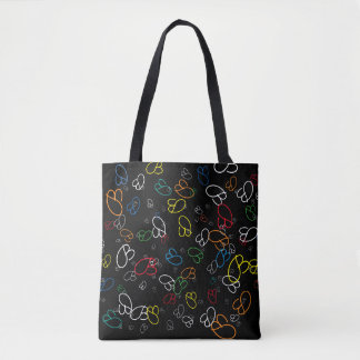creative pattern of colorful name initials tote bag