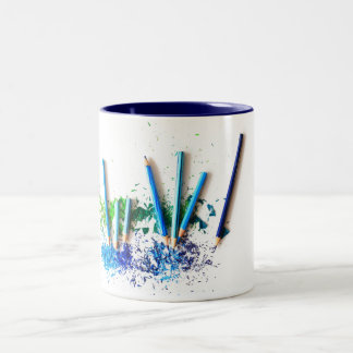 Creative Pencil Crayons In Shades of Blue Two-Tone Coffee Mug