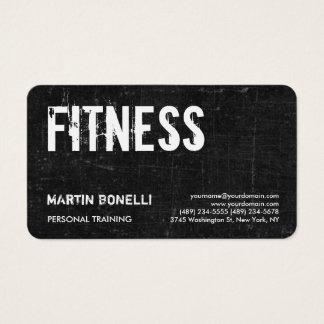 Creative Retro Black Grey Dynamic Personal Trainer Business Card