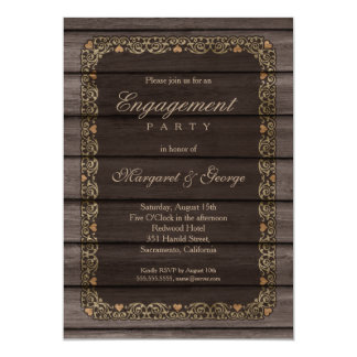 Creative Rustic Wood Engagement Party Card