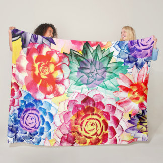 Creative Succulent Plants Artsy Watercolor Fleece Blanket