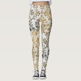 Creative White & Gold Designed Leggings
