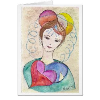 Creative woman - Print of my original illustration Card