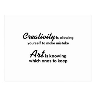 Creativity is allowing yourself to make mistake postcard