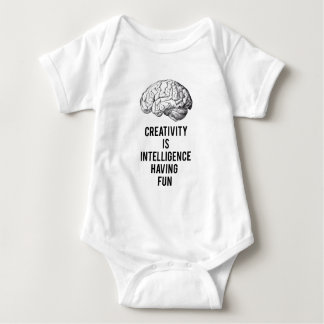 creativity is intelligence having fun baby bodysuit