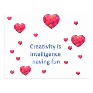 Creativity is  intelligence  having fun postcard