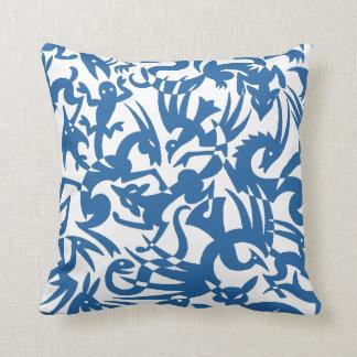 Creatures Blue Pillow
