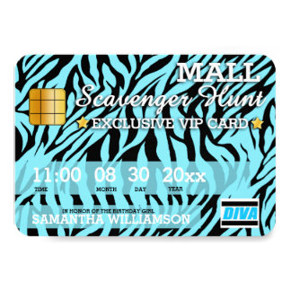 Credit Card Mall Scavenger Hunt Party Invitation