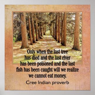 Cree Indian Proverb --- art print -- 12 x 12
