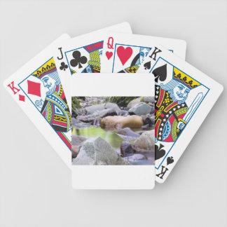 creek among stones bicycle playing cards