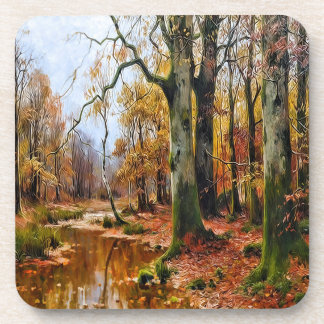 Creek in an Autumn Woodland Forest Vintage Coaster
